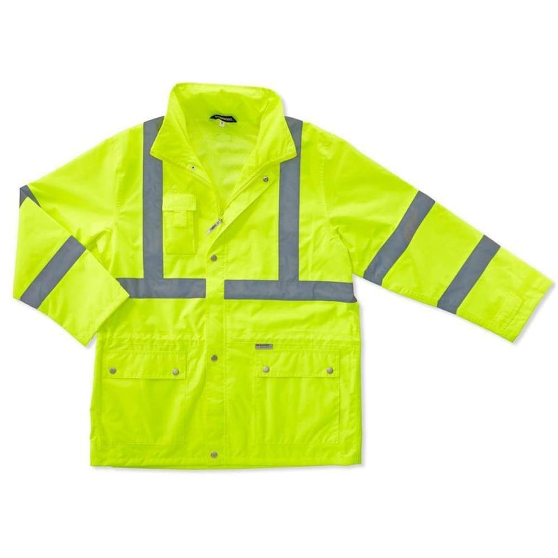 Ergodyne Safety Apparel GloWear Hi-Viz Lime Rain Jacket