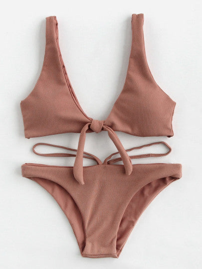 Double Deep Plunge Bow Detail Ribbed Bikini Set - Trendsetterco