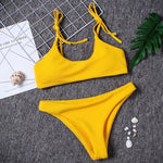 Fabulous yellow Solid Swimsuit - Trendsetterco