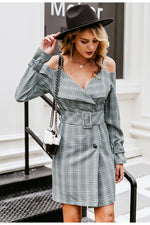 V-neck plaid sash belt dress - Trendsetterco