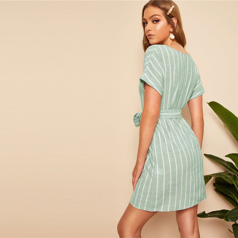 V Neck Vertical Striped Belted Dress - Trendsetterco