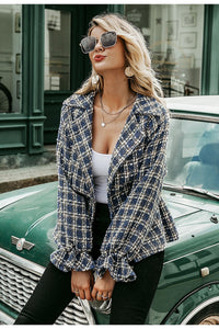Elegant Plaid tweed Jacket - Trendsetterco