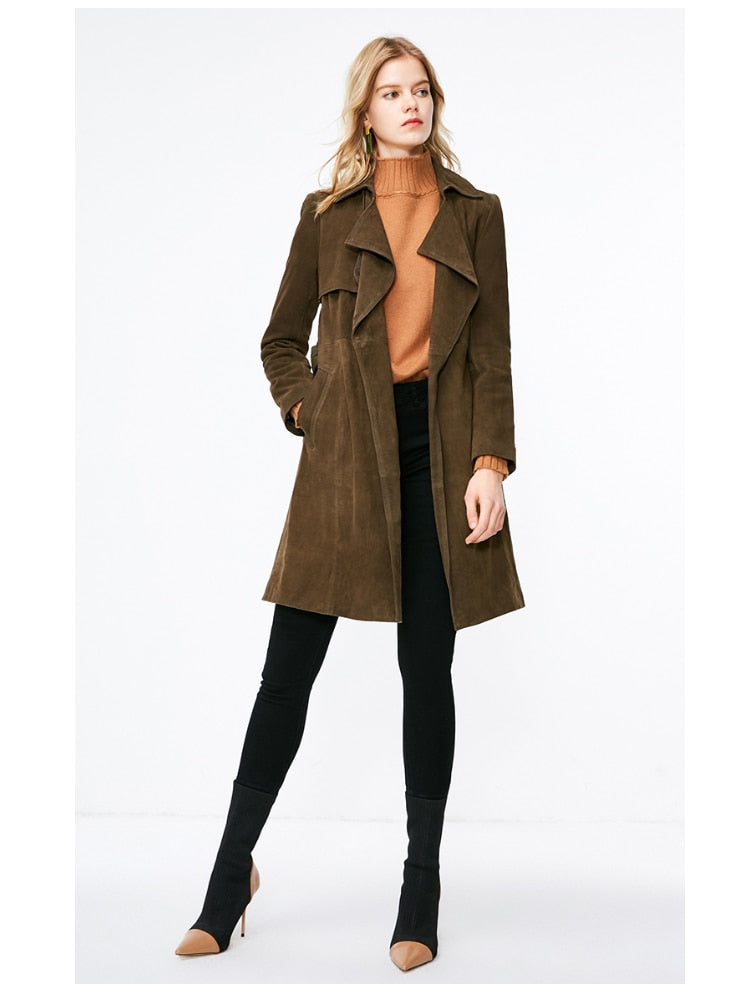Suede Lace-up Leather Coat - Trendsetterco