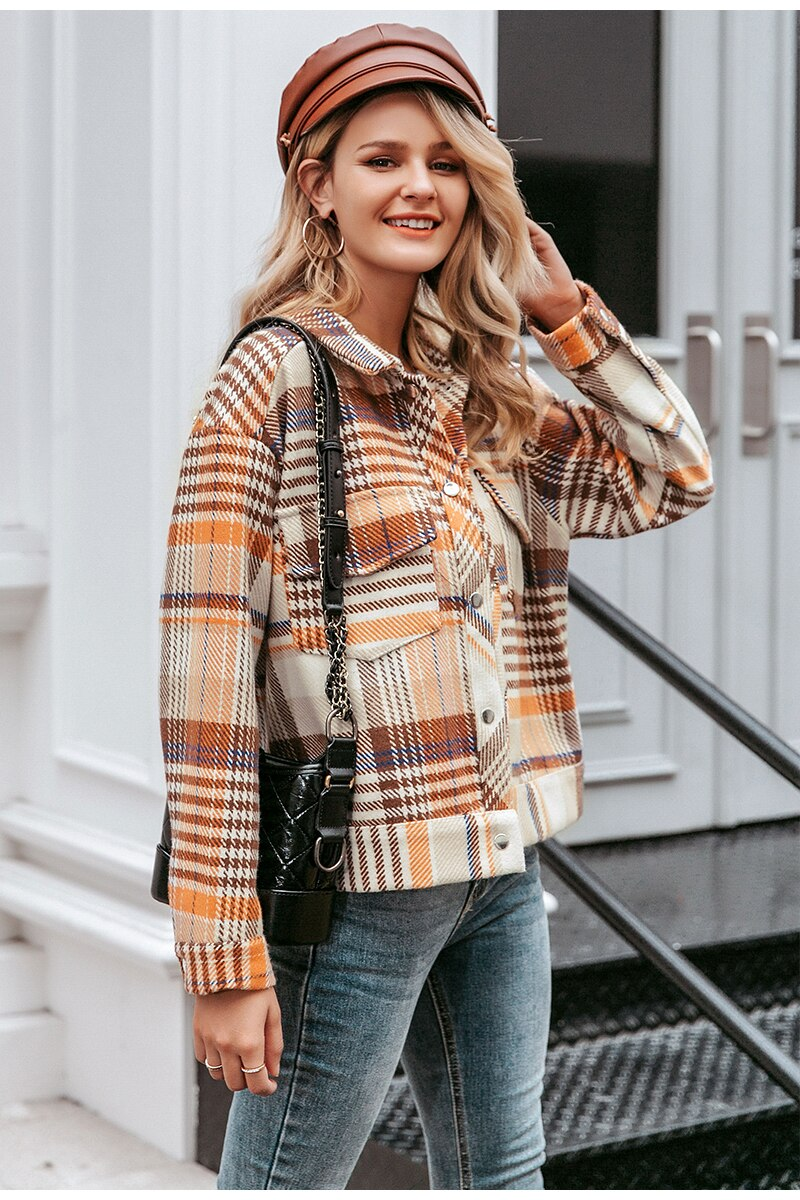 Plaid Denim jacket - Trendsetterco
