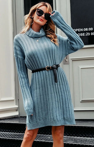 Turtleneck mini dress - Trendsetterco