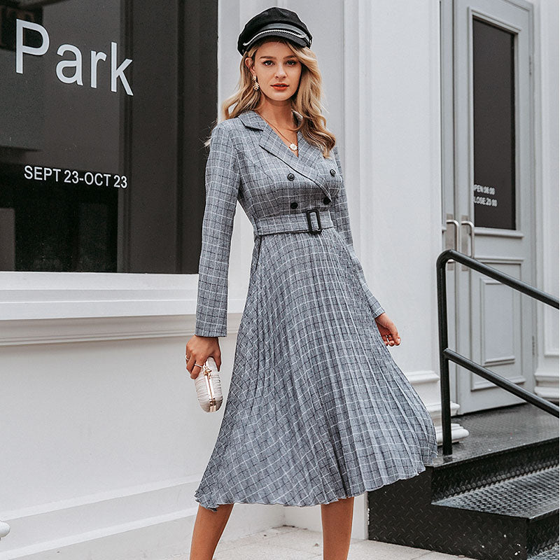 Long sleeve plaid dress with belt - Trendsetterco