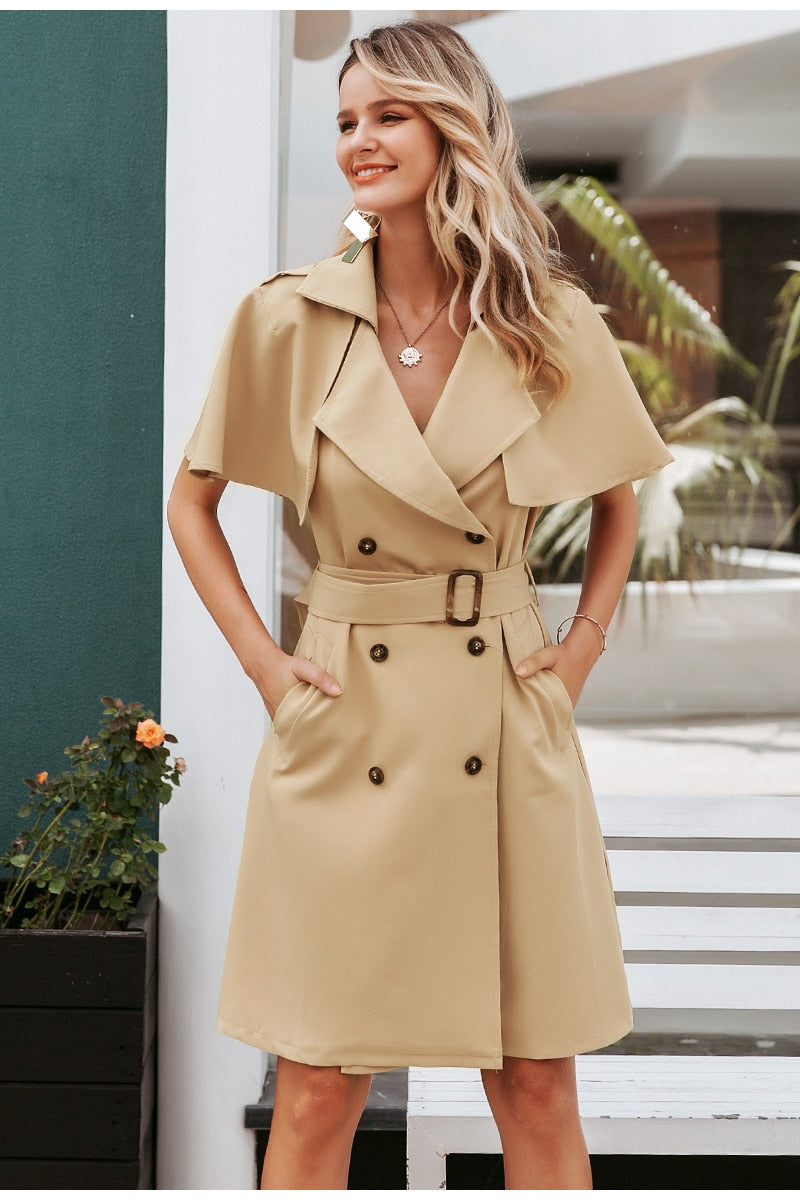 Trench/blazer dress with belt - Trendsetterco