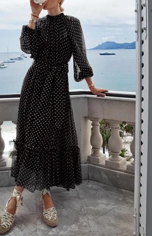 Elegant polka dot print dress - Trendsetterco