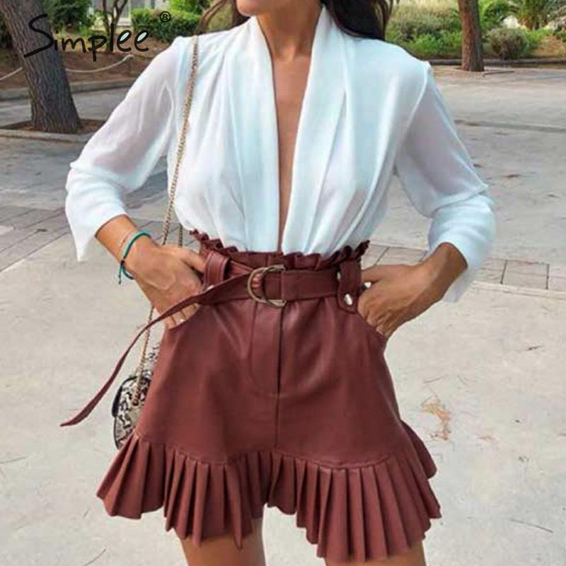 PU leather Ruffled Skirt - Trendsetterco
