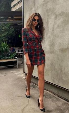 Red and green plaid dress - Trendsetterco