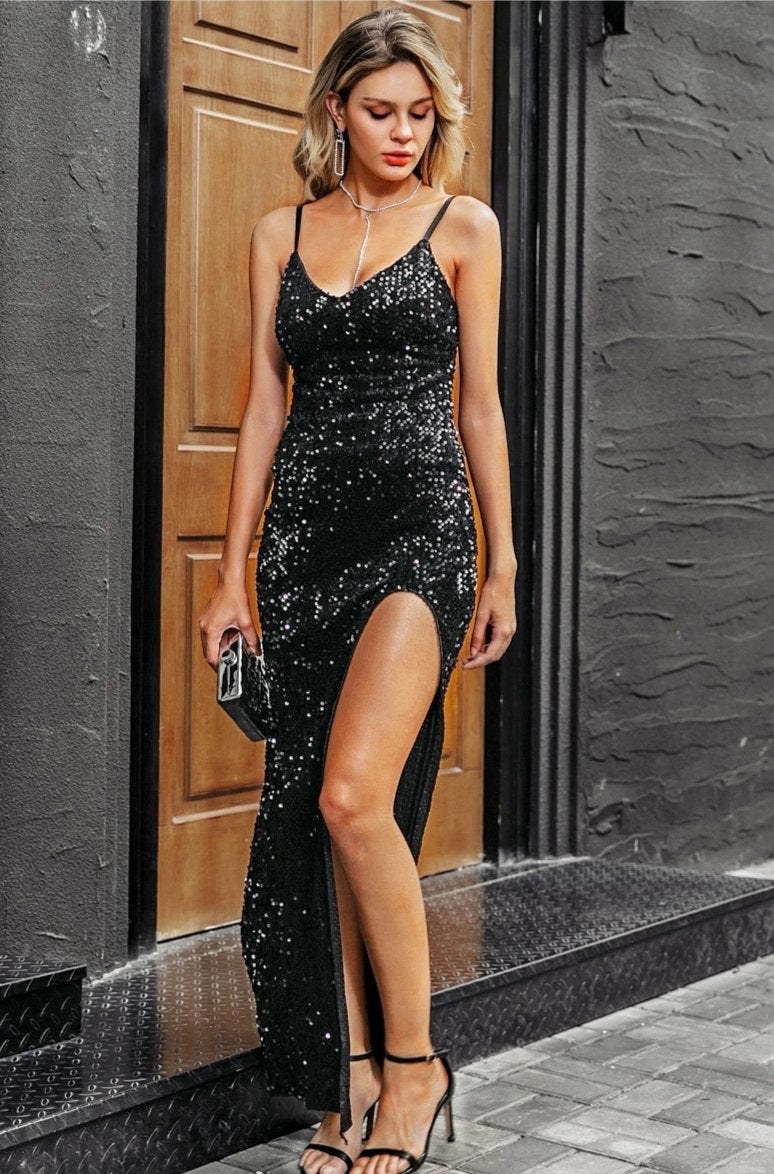Black shiny long dress - Trendsetterco
