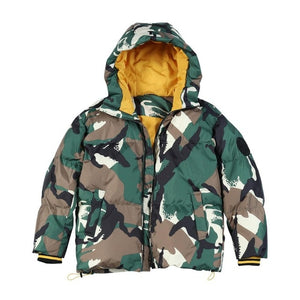 Camouflage hooded contrast color coat