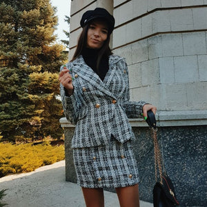 Two-piece set plaid / blazer/ skirt - Trendsetterco