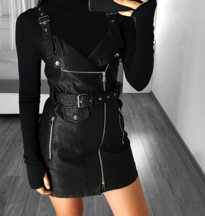 Fashion PU leather dress - Trendsetterco