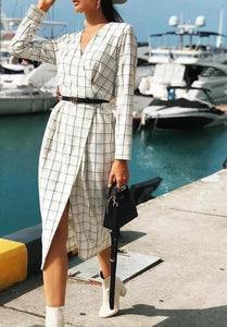 Long sleeve plaid dress - Trendsetterco