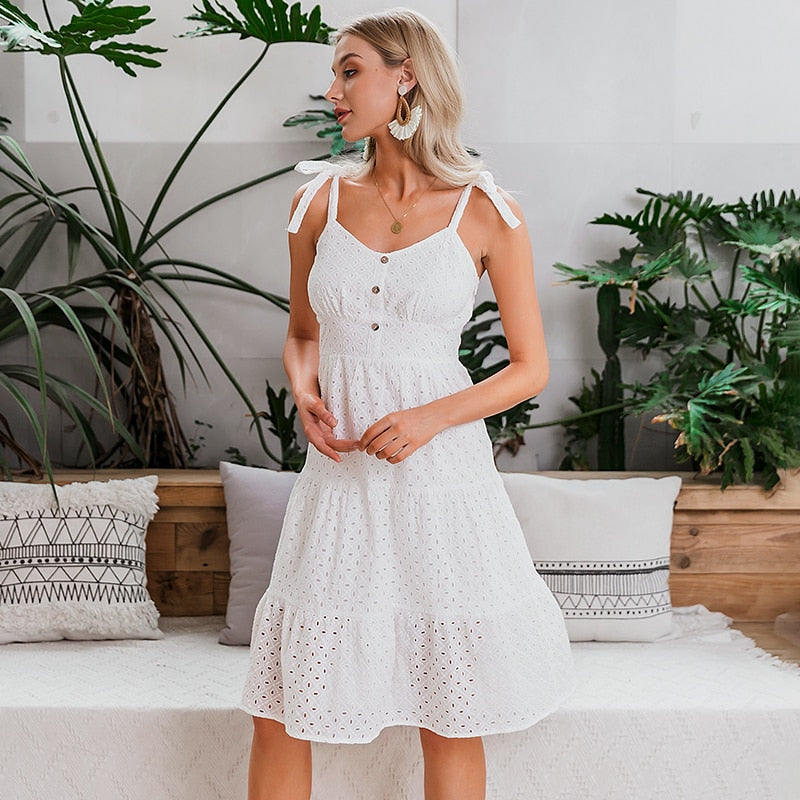 Bow-knot spaghetti embroidery midi dress