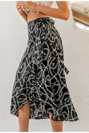 Fashionable chain print midi skirt - Trendsetterco