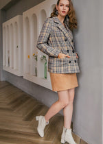 Plaid blazer coat