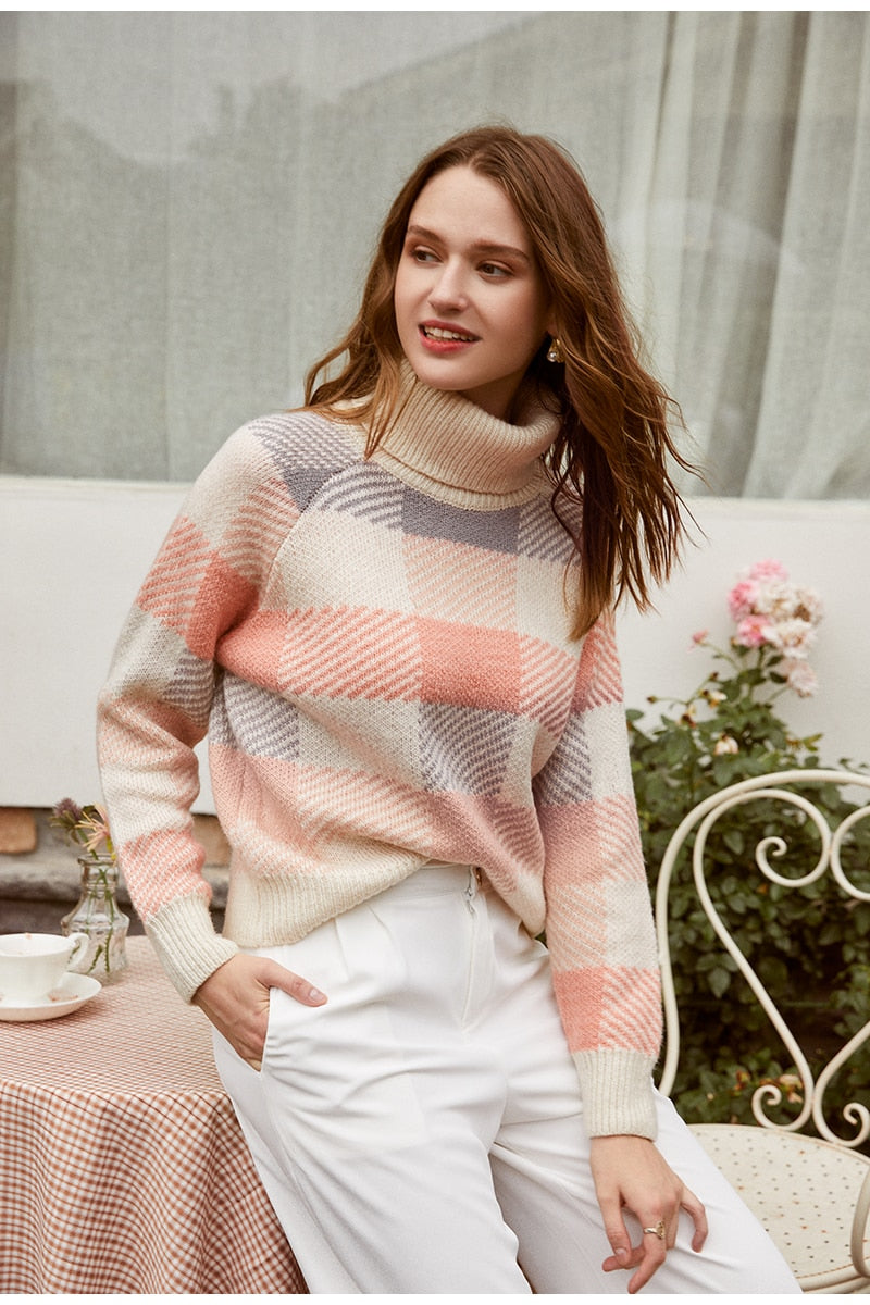 Turtleneck plaid knitted sweater