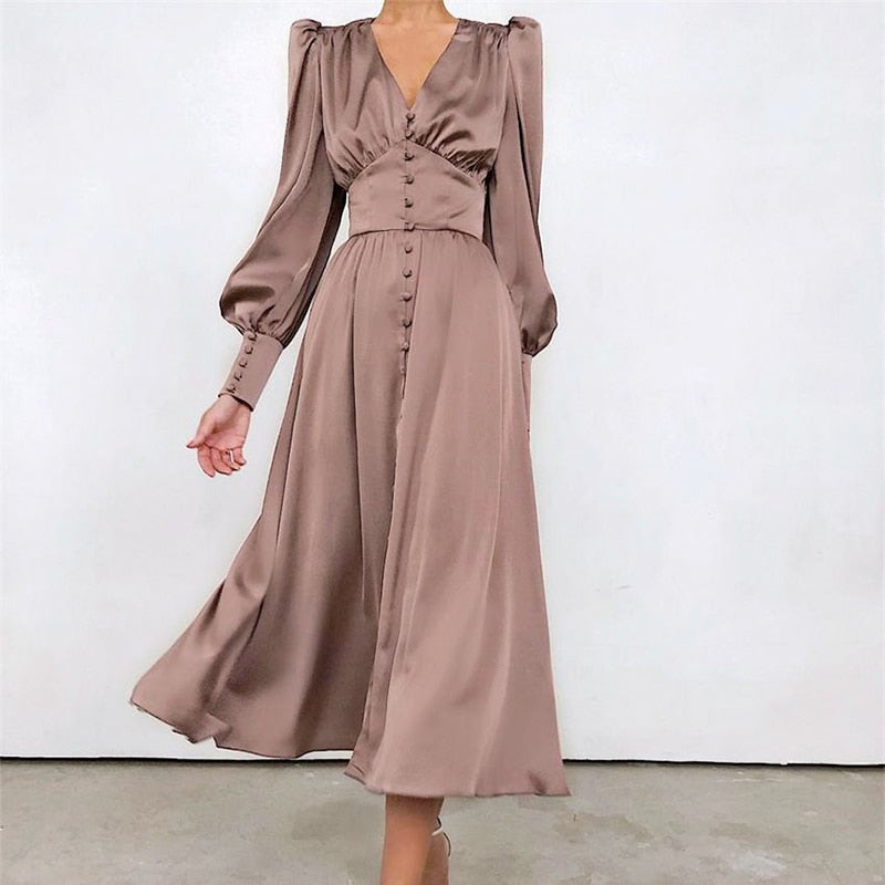 Elegant Royalty Satin V-neck Dress