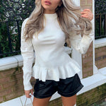 White Long Sleeve Pullover Sweater