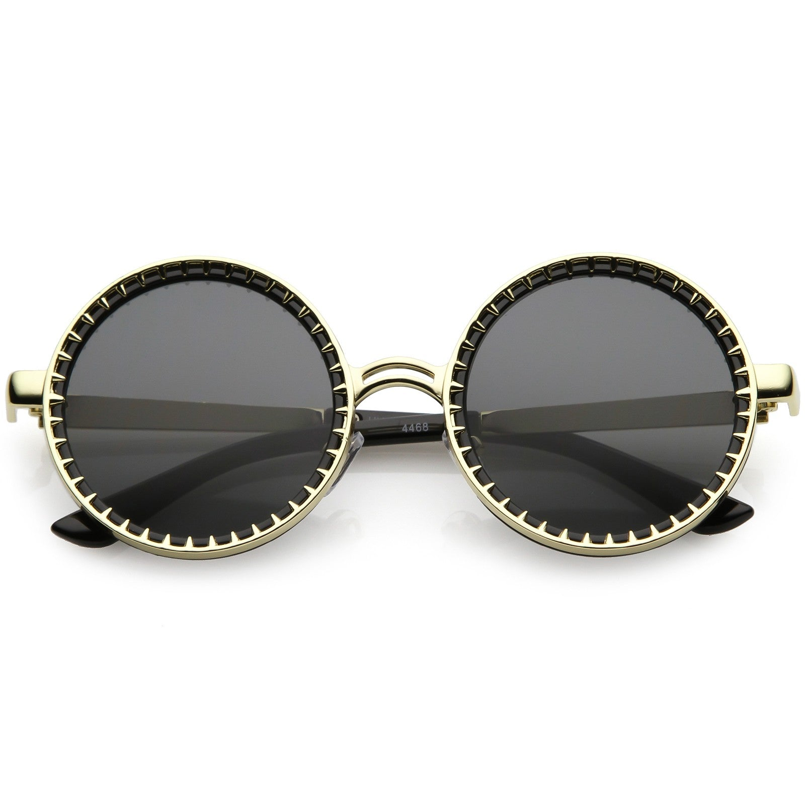 Steampunk Metal Round Sunglasses With Spike Detail And Flat Lens 50mm (Gold Tortoise / Amber) - Trendsetterco