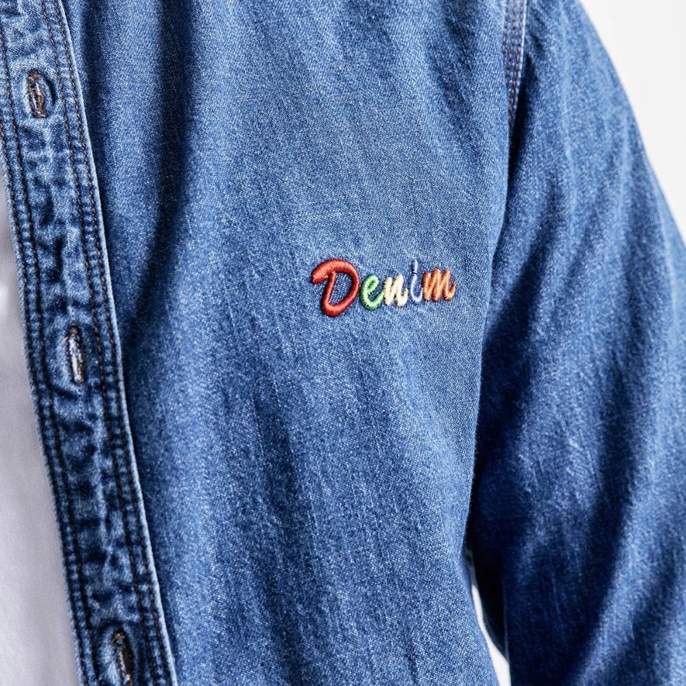 Letter Embroidered Denim Shirt - Trendsetterco