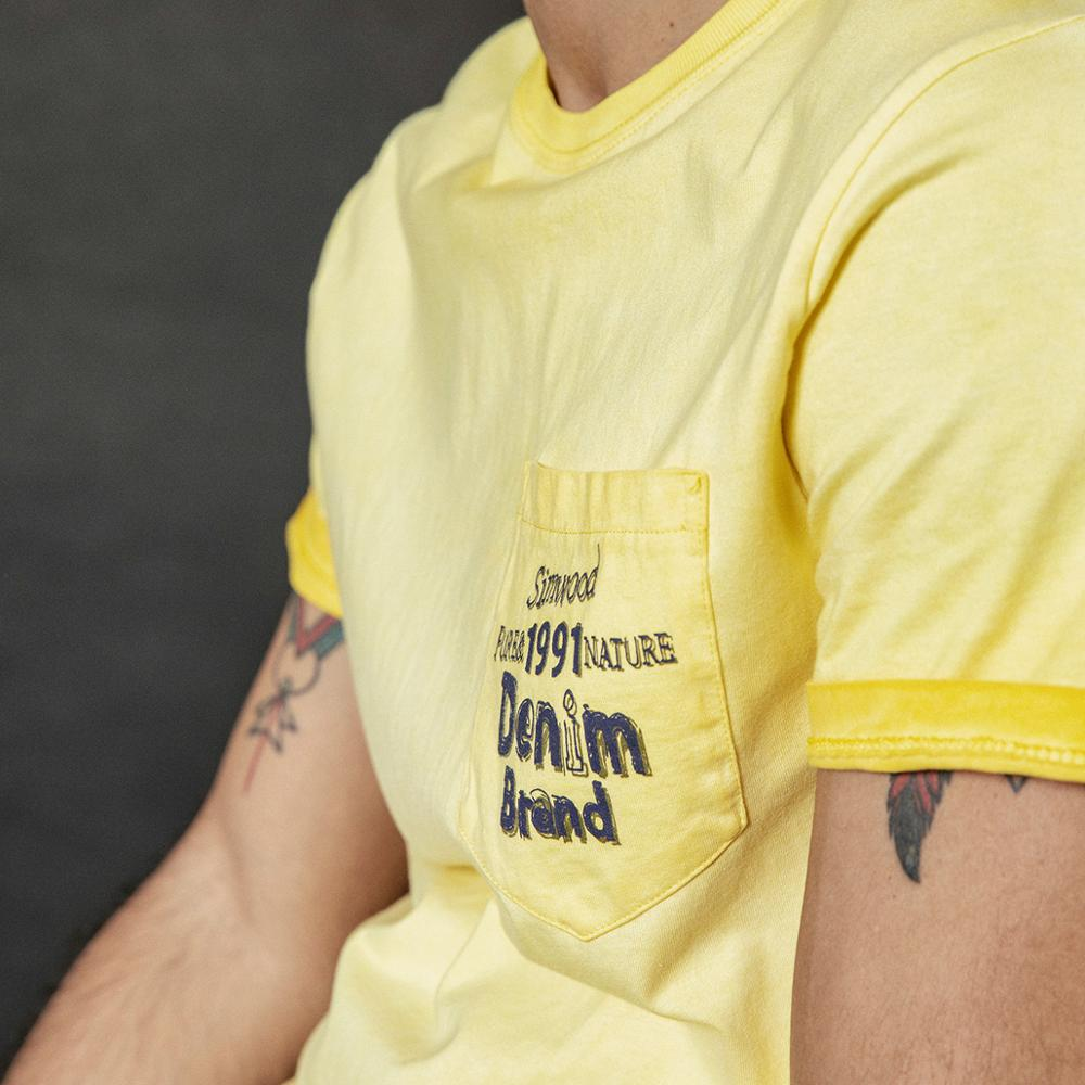 Vintage yellow washed letter print T-shirt - Trendsetterco