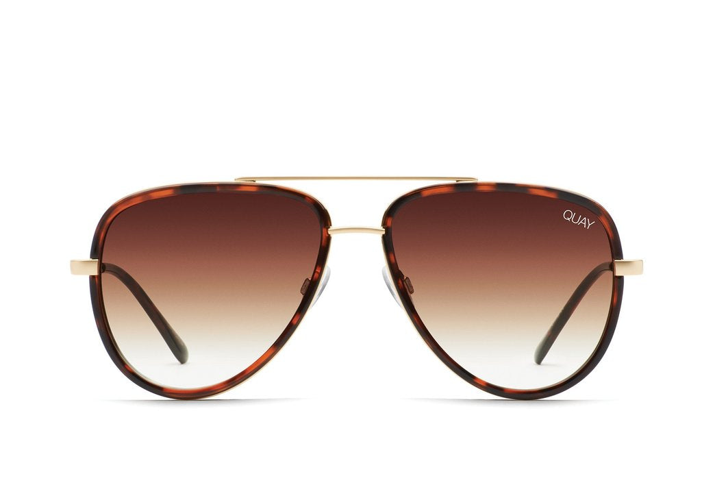 Quay All In Sunglasses in Tort/Brown Fade Lenses