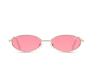 QUAY 'Clout' Sunglasses Gold/Red