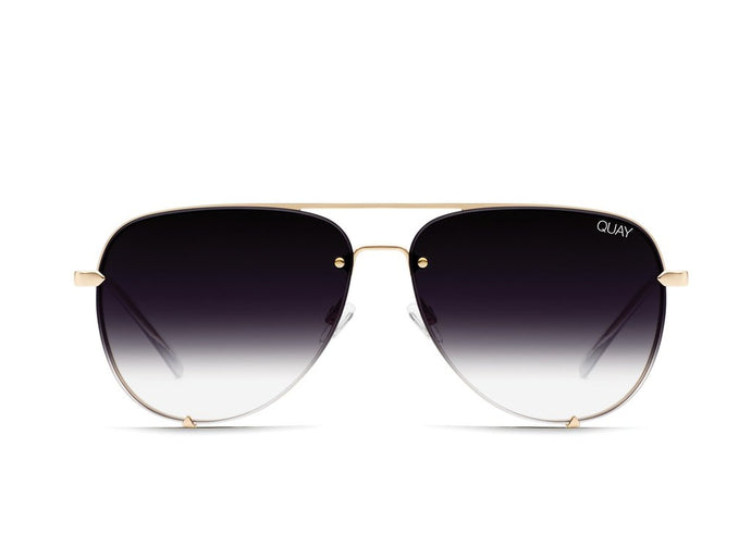 QUAY AUSTRALIA X DESI PERKINS High Key Rimless Sunglasses - Gold/Fade