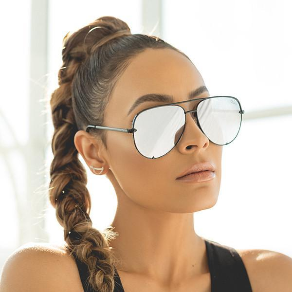 QUAY 'High Key' Sunglasses Black/Silver