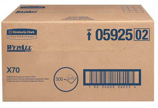 05925 Wypall X70 Foodservice Wipers White - 300/Box