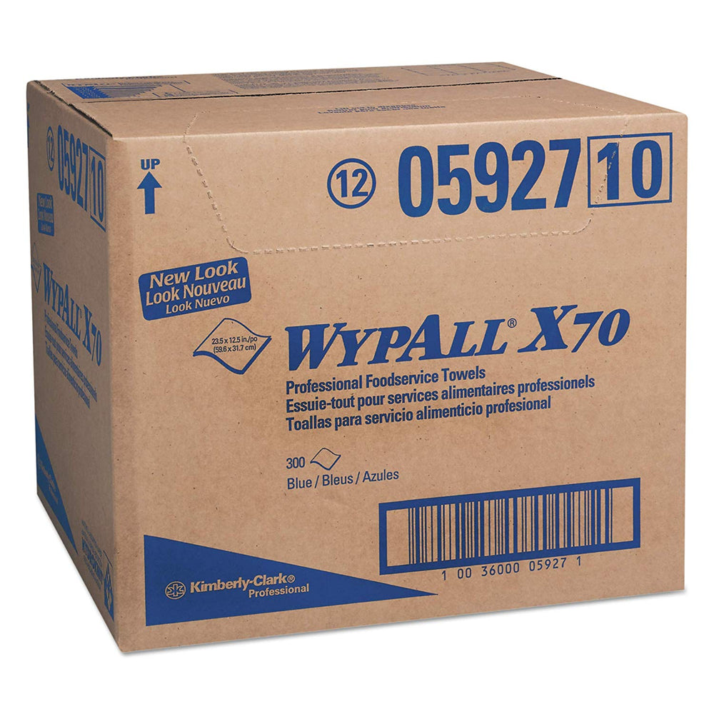 05927 Wypall X70 Foodservice Wipers Blue - 300/Box