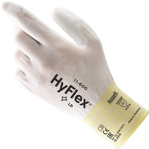 Ansell Hyflex White Polyurethane Coated Gloves 11-600 - 12 Pairs/Pack