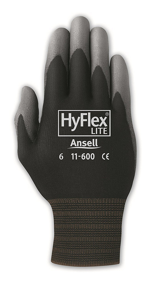 Ansell Hyflex Black/Grey Polyurethane Coated Gloves 11-601 - 12 Pairs/Pack