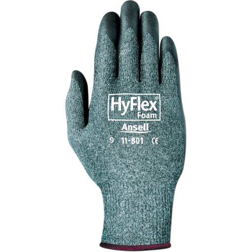 Ansell Hyflex Black Foam Nitrile Palm Coated Gloves 11-801 - 12 Pairs/Pack