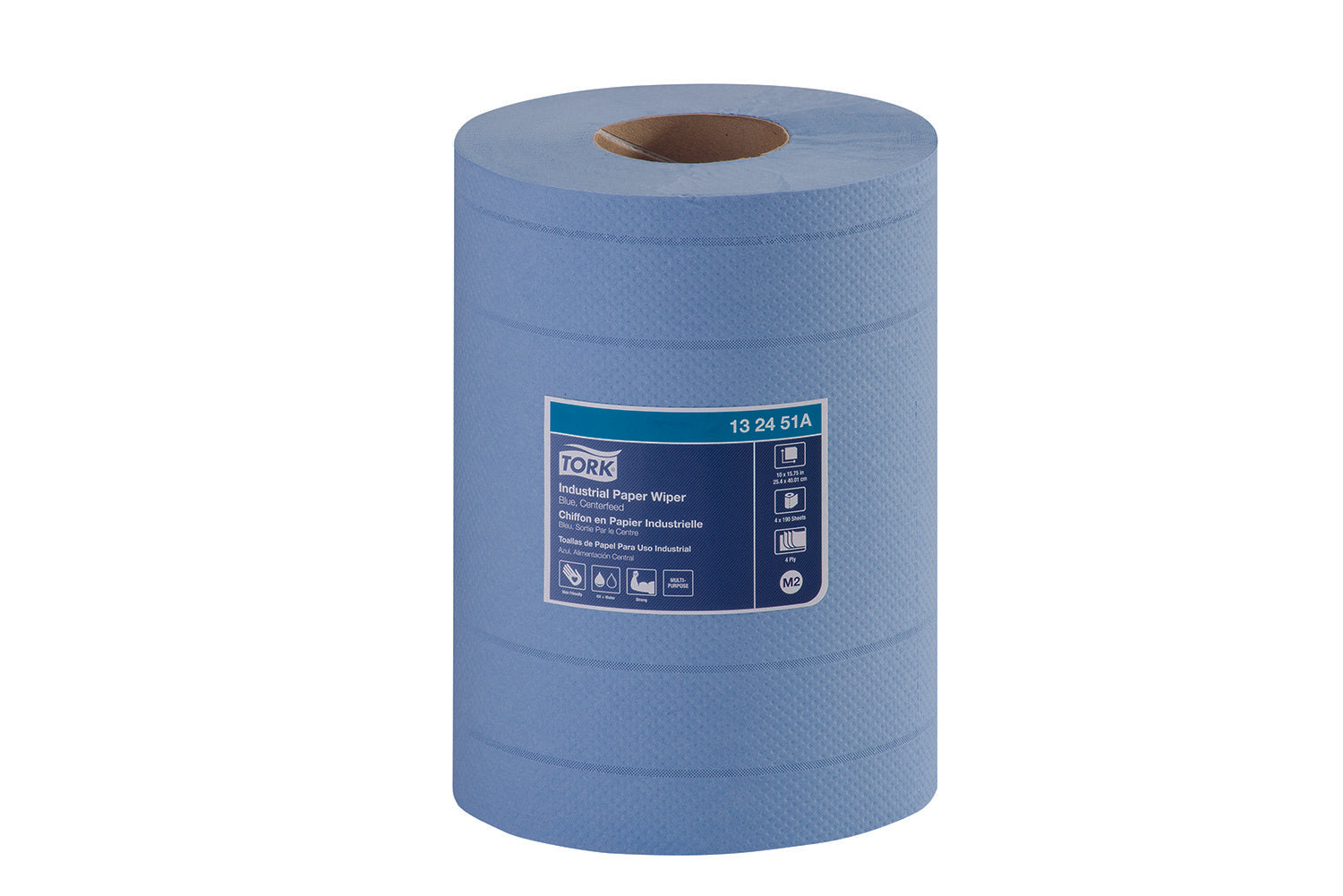 Tork Centerfeed  Industrial Paper Wiper, 4-Ply Blue - 4 Rolls x 760 Sheets