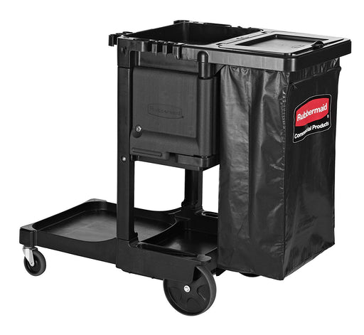 Rubbermaid Janitor Executive Series Black Cleaning Cart