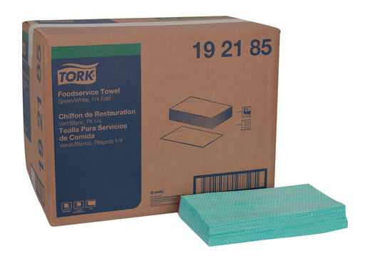 Tork Foodservice Cleaning Towel, 1/4 Fold Green - 600/Box
