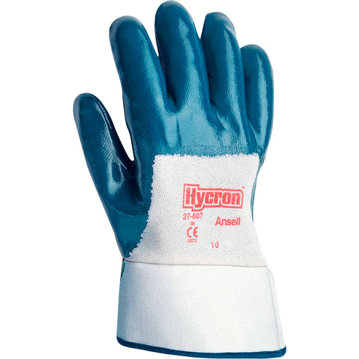 Ansell Hycron Nitrile Palm Coated Gloves with Safety Cuff 27-607 - 12 Pairs/Pack
