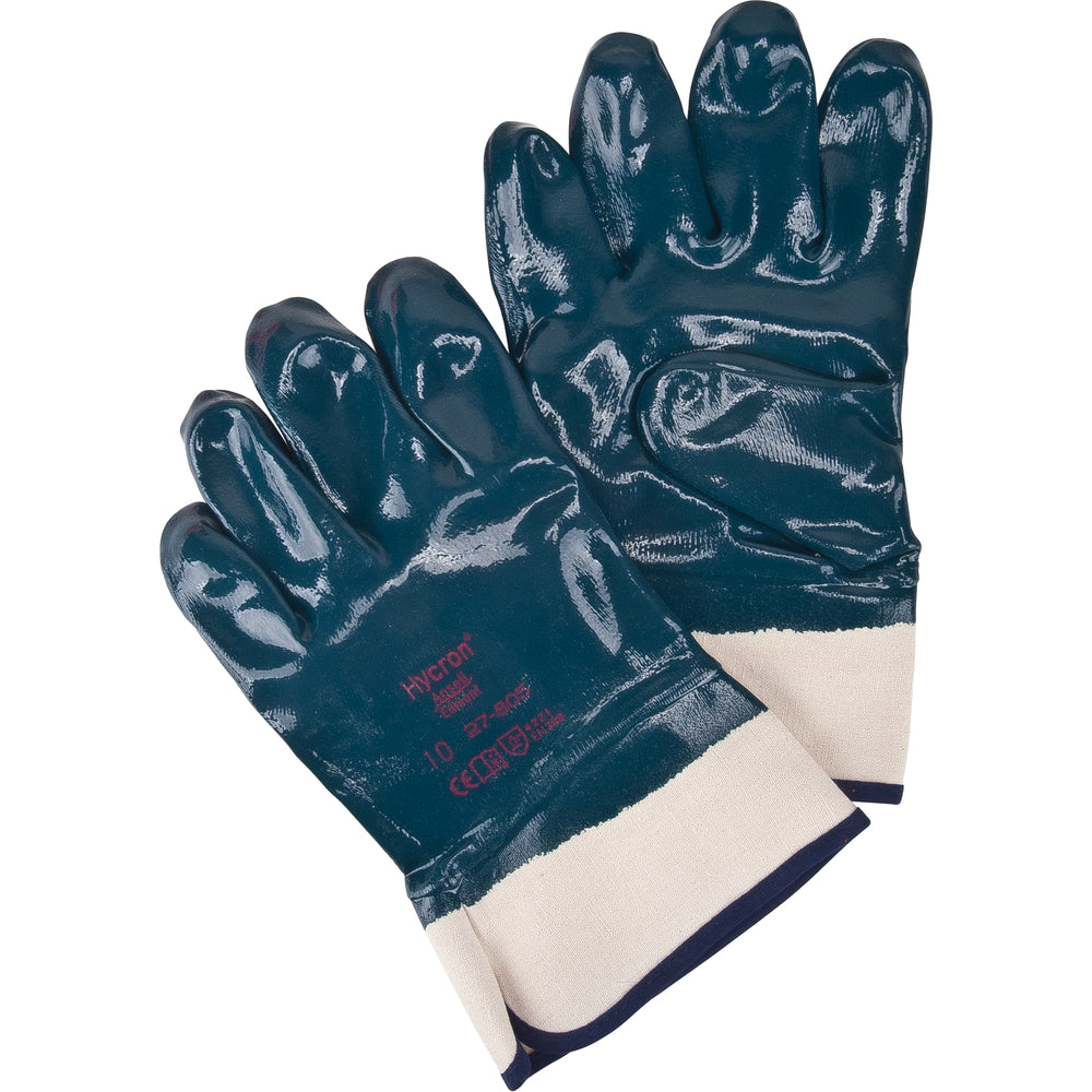 "Ansell Hycron Fully Nitrile Coated Gloves with 2.5"" Safety Cuff 27-805 - 12 Pairs/Pack"