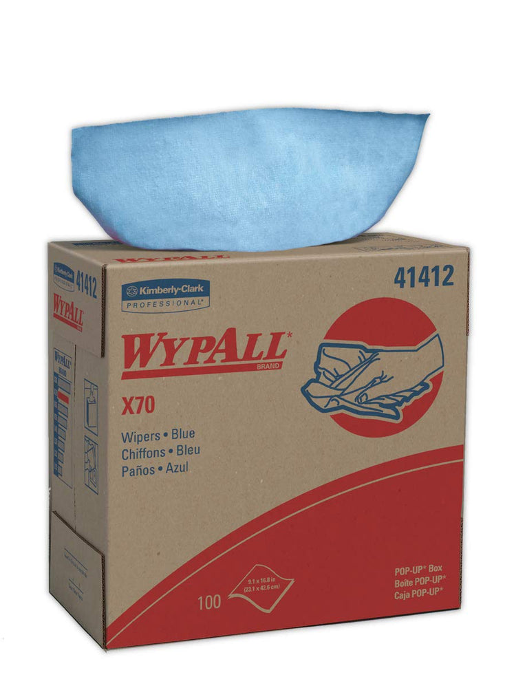41412 Wypall X70 Wipers Blue - 10 Boxes X 100 Sheets