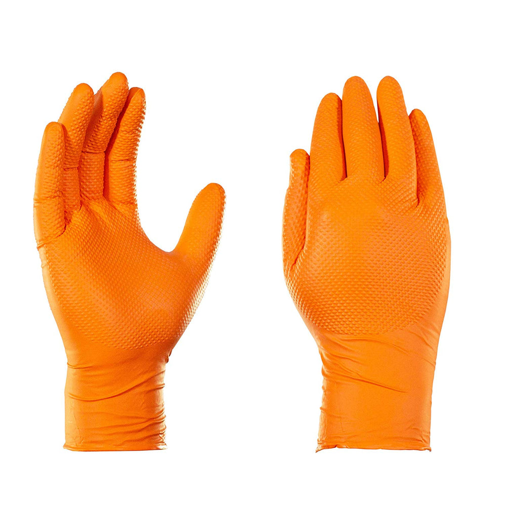 Gloveworks Heavy Duty Industrial 8 Mil Orange Nitrile Gloves - 10 Boxes/Case