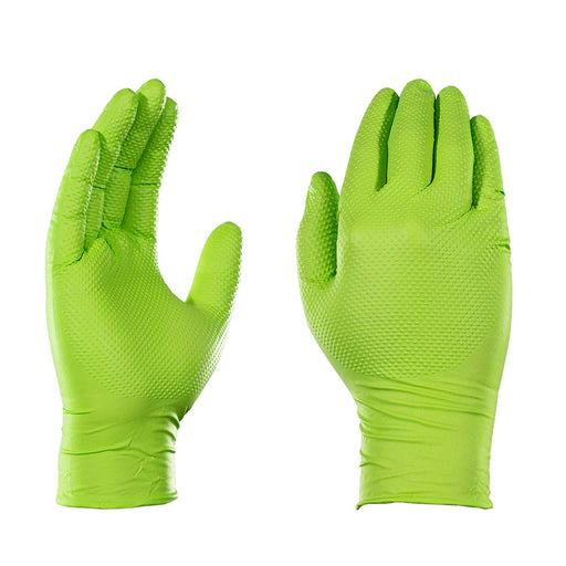 Gloveworks Heavy Duty Industrial 8 Mil Green Nitrile Gloves - 10 Boxes/Case