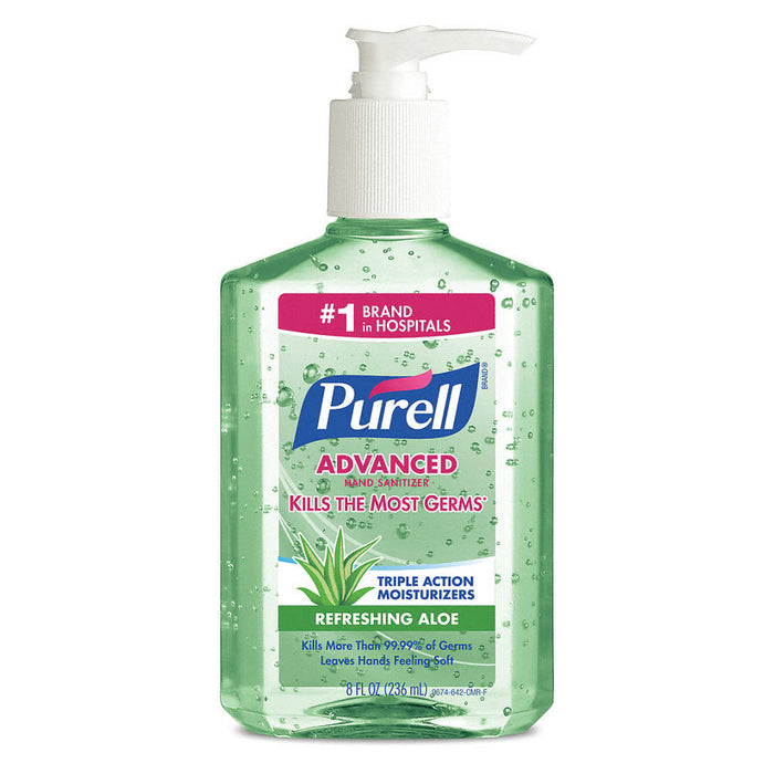 Purell Advanced Hand Rub with Aloe Table Top Pump Bottle 9674-12 - 12 X 236 mL