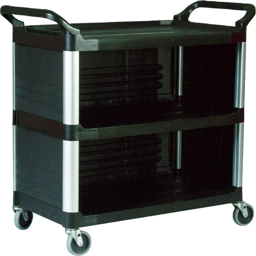 Rubbermaid Commercial Xtra Utility Cart with Enclosed End Panels Black