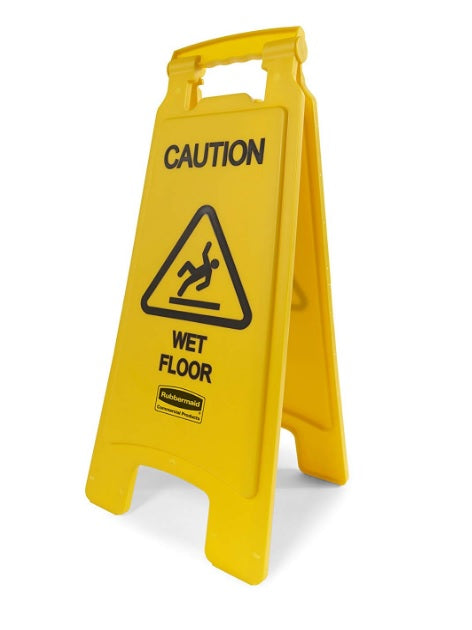 "Rubbermaid English Only ""Caution Wet Floor"" Sign - Yellow"