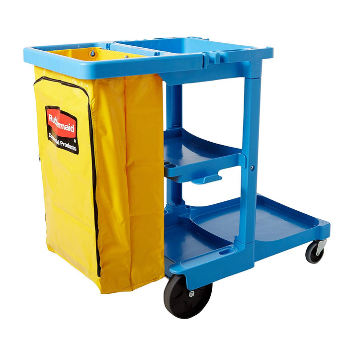 Rubbermaid Janitor Cleaning Cart with Zippered Vinyl Bag