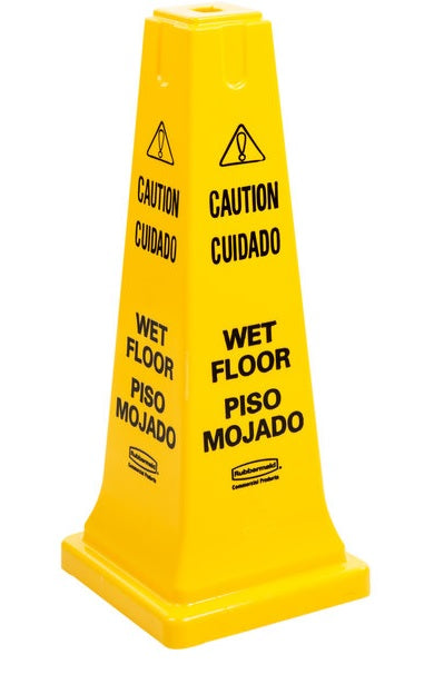 "Rubbermaid 25 Inch Multilingual Safety Cone ""Caution Wet Floor"""